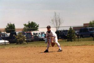Chris Bombardier as a teenager playing baseball