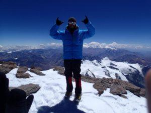 Chris Bombardier at the peak of Aconcagua (February 2013)