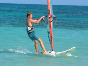 Alex windsurfing