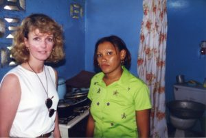Laurie meeting a mum to three boys with haemophilia in the Dominican Republic (c.1998)