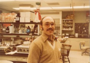 Glenn Pierce pictured during his early research days in the lab.
