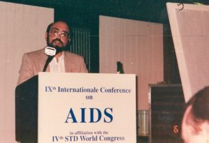 Glenn Pierce speaking at the 1993 International Conference on AIDS in Berlin, Germany.