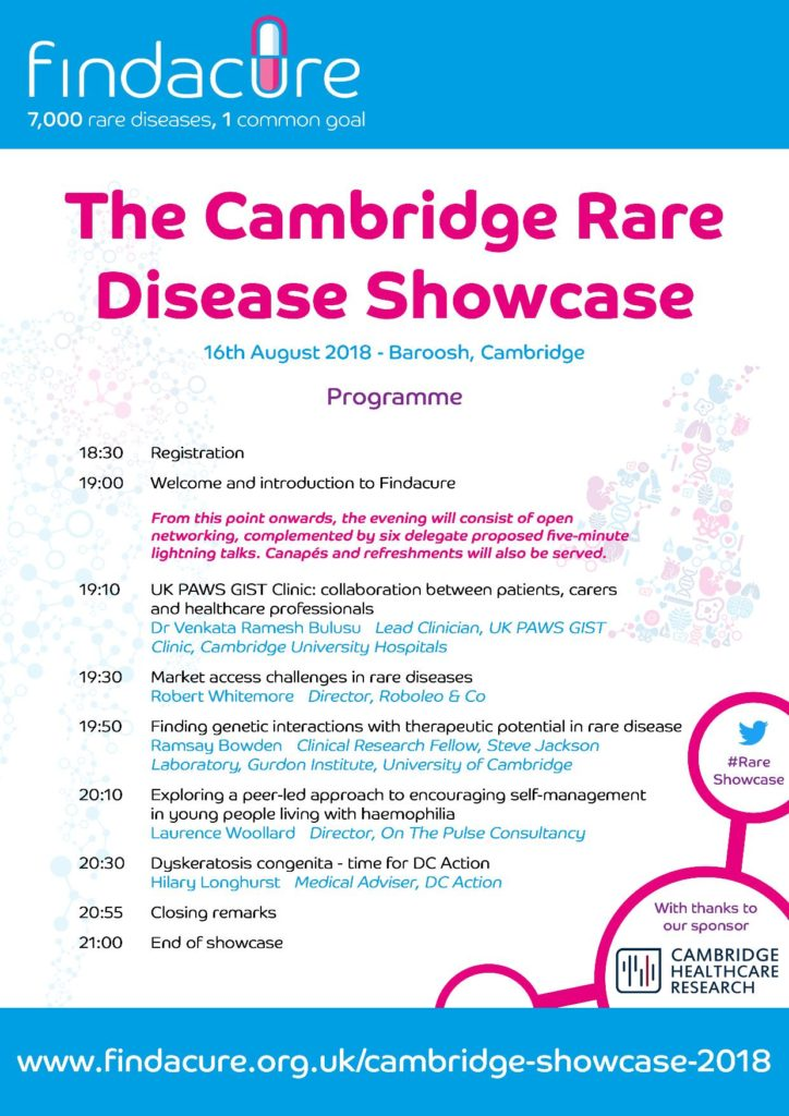 Findacure's Cambridge Rare Disease Showcase 2018 Programme