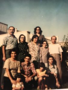 Flora Peyvandi aged 13 with her family in Iran.